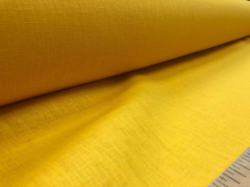 150 см. Плотная льняная желтая ткань
