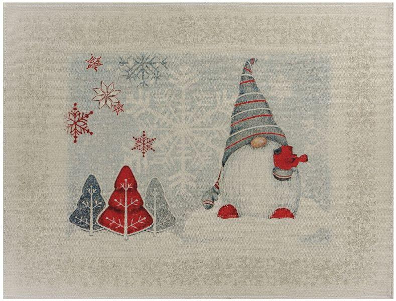 47х60 Новогоднее полотенце Гном и снегирь