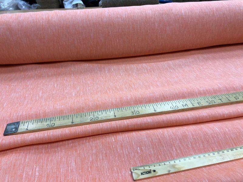 260 см. Широкая льняная ткань Оранжевый меланж