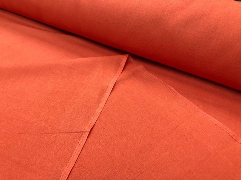 150 см. Оранжевая Ткань для штор лен/хлопок