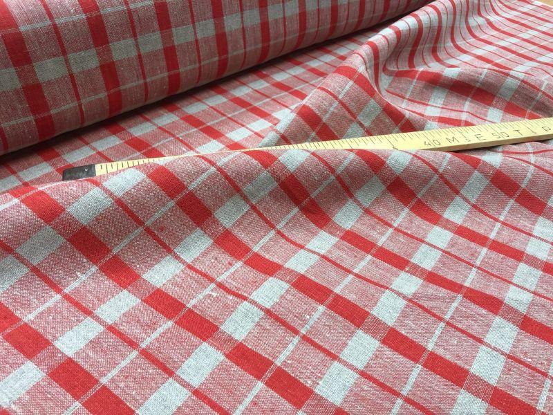 150 см. Скатертная льняная ткань Красная клетка