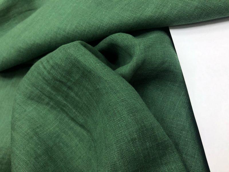 150 см. Лён-Батист умягченный изумрудного цвета