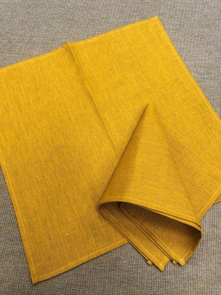 45х45 Льняная салфетка горчичного цвета