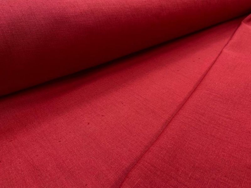 150 см. Льняная ткань для штор Красная