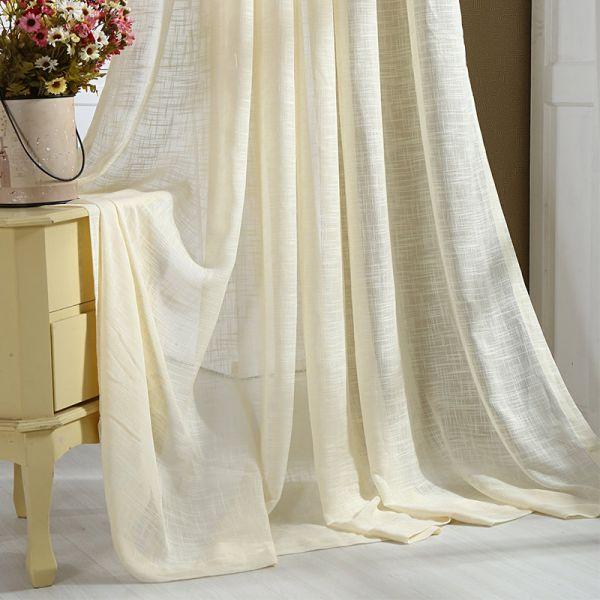145х180 Короткая легкая штора желтого цвета