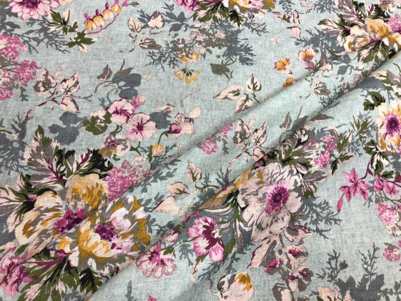 150 см. Льняная ткань для платья gentle bouquet