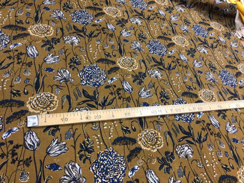 150 см. Ткань портьерная с рисунком Ботаника Gold