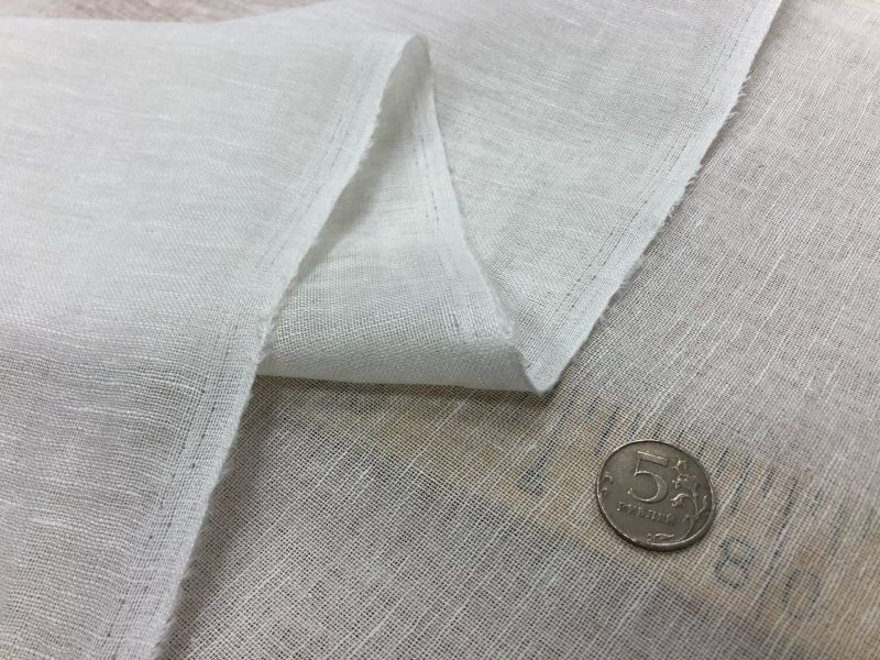 160 см. Белая льняная вуаль (Лён/Хлопок)