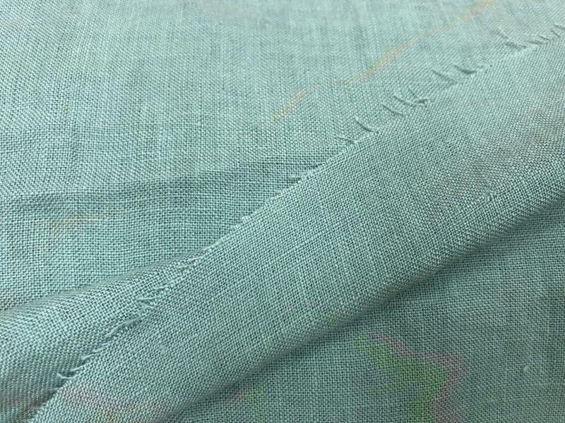 250 см. Широкая ткань из льна ментолового цвета 100% лен
