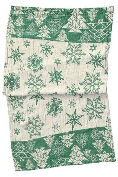 56х110 Новогоднее банное полотенце Елки green