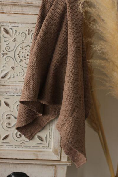 70х120 Большое коричневое банное вафельное полотенце