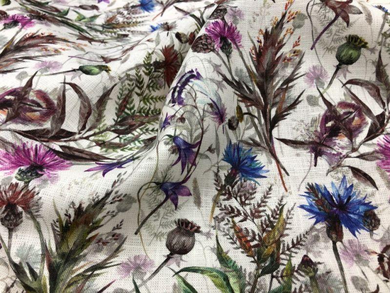 150 см. Льняная ткань для платья forest flowers