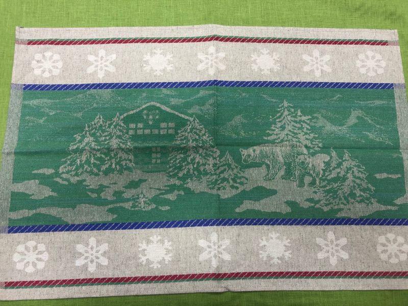 46х70 Новогоднее полотенце Шале green
