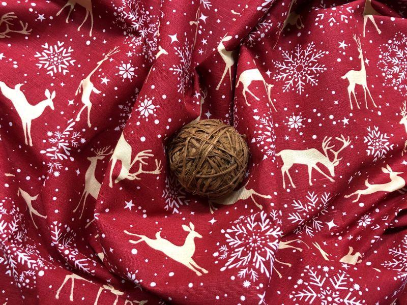 150 см. Новогодняя ткань со снежинками Золотой Олень