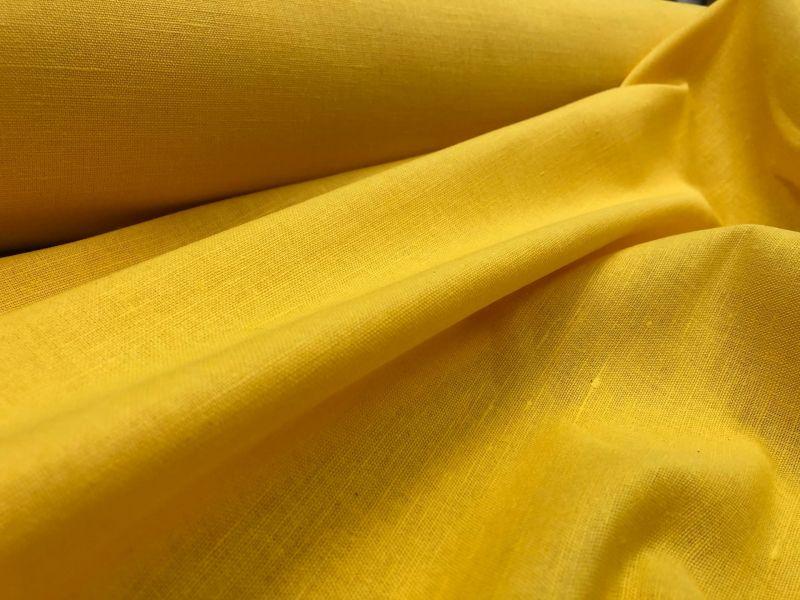 150 см. Льняная ткань для штор насыщенного желтого цвета