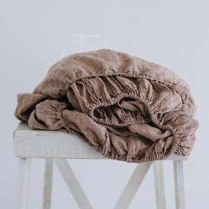 "Простыня на резинке ""Soft Linen"" коричневый меланж 200х160х25"