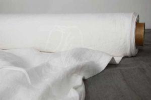 Широкая ткань белого цвета 100% лён 220 см.